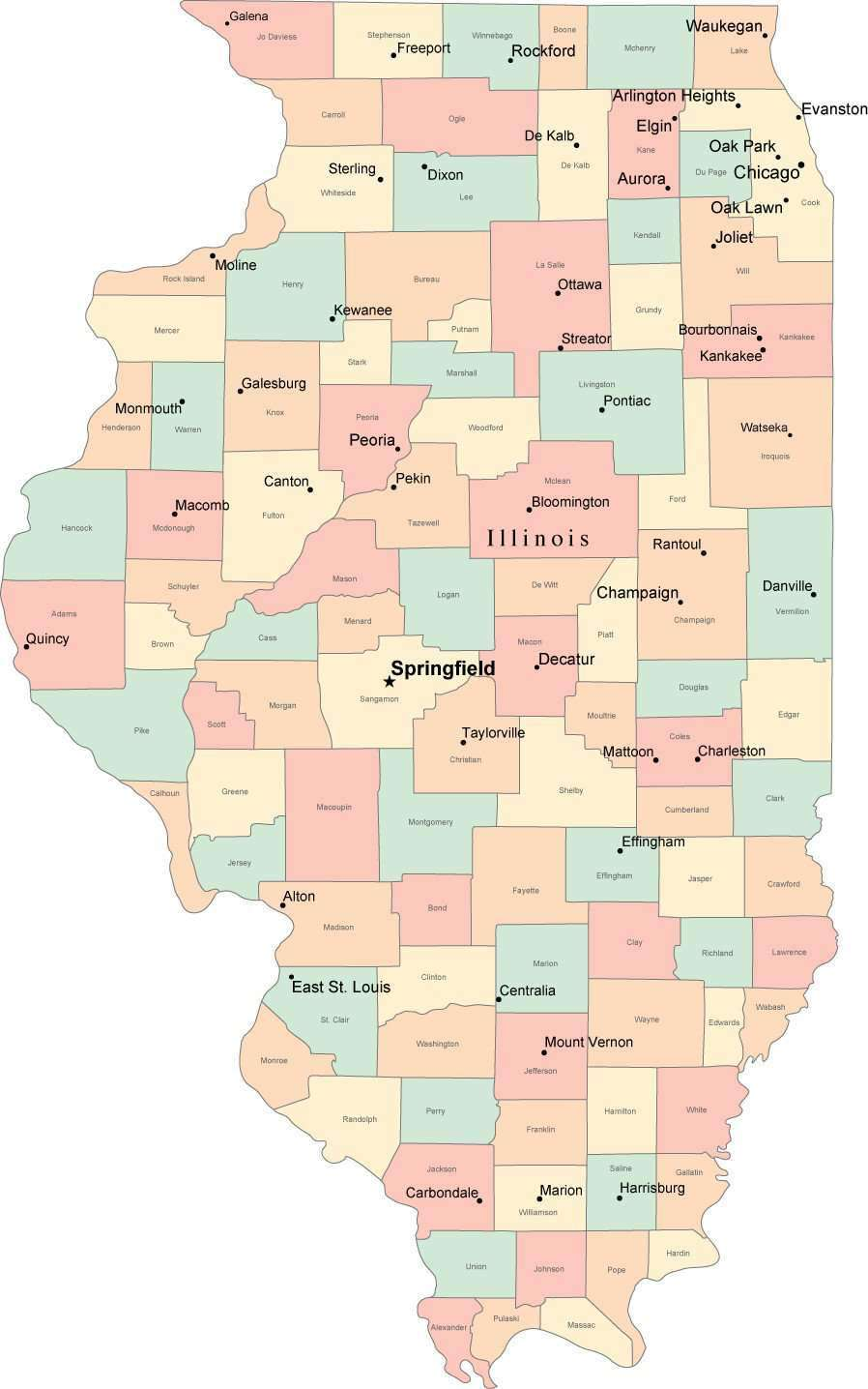 Multi Color Illinois Map with Counties, Capitals, and Major Cities