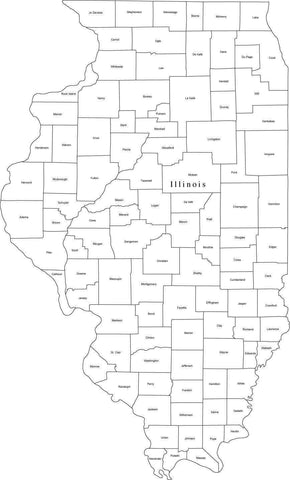 Black & White Illinois Map with Counties