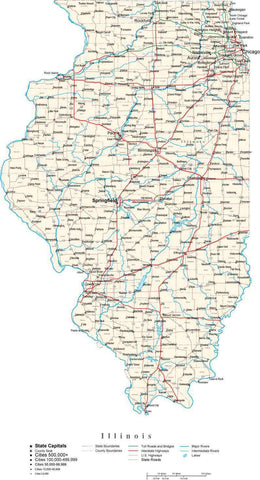 Illinois Map - Cut Out Style - with Capital, County Boundaries, Cities, Roads, and Water Features