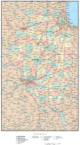 Illinois Map with Counties, Cities, County Seats, Major Roads, Rivers and Lakes