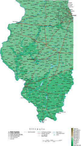 Illinois Map  with Contour Background - Cut Out Style