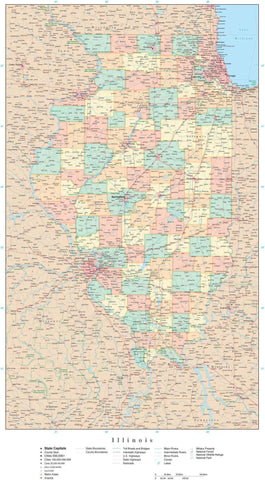 Poster Size Illinois Map with Counties, Cities, Highways, Railroads, Airports, National Parks and more