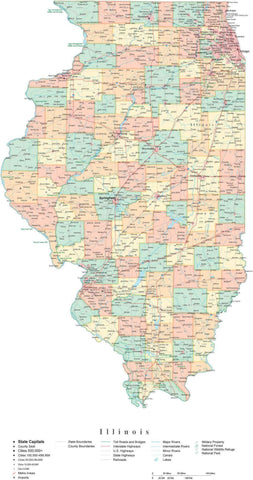 Detailed Illinois Cut-Out Style Digital Map with Counties, Cities, Highways, and more