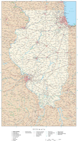 Poster Size Illinois Map with County Boundaries, Cities, Highways, National Parks, and more