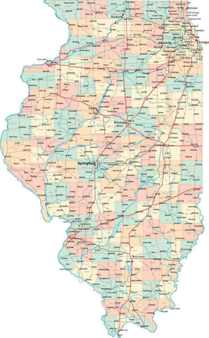 Illinois State Map - Multi-Color Style - Fit Together Series