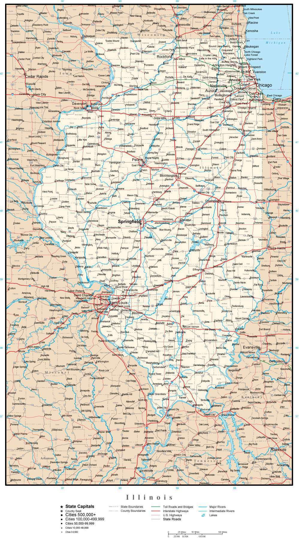 Illinois Map with Capital, County Boundaries, Cities, Roads, and Water on illinois on a map of north america, iowa and illinois usa, detroit map usa, illinois storm radar map, cartoon map of usa, illinois county map, illinois state,