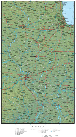 Digital Illinois Terrain map in Adobe Illustrator vector format with Terrain IL-USA-942197