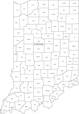 Black & White Indiana Map with Counties