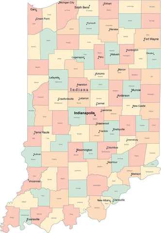 Multi Color Indiana Map with Counties, Capitals, and Major Cities