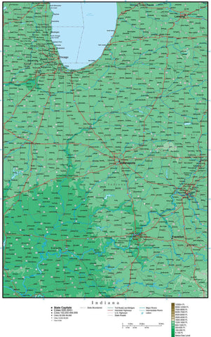 Indiana Map with Contour Background