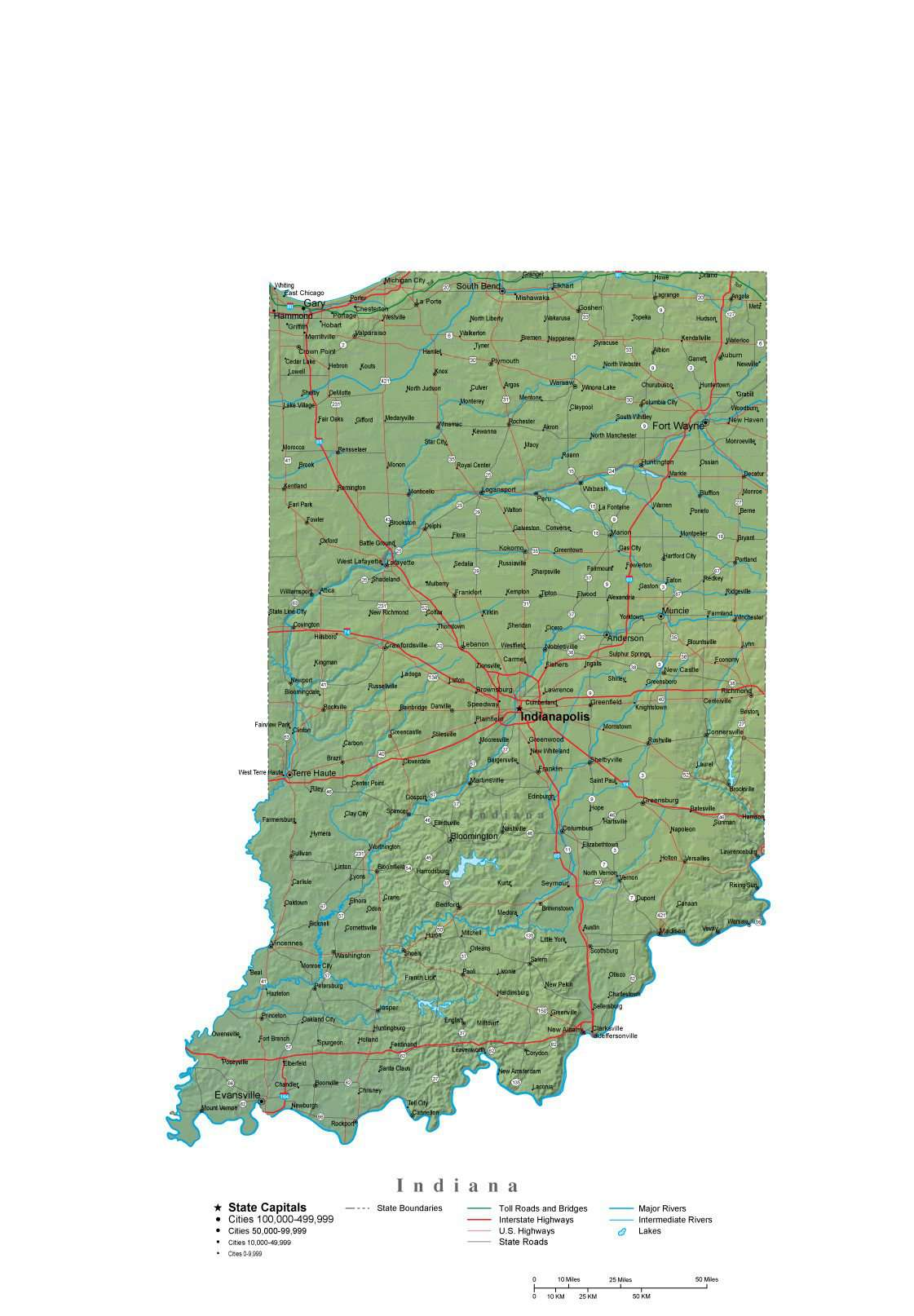 Indiana Illustrator Vector Map With Cities Roads And Photoshop