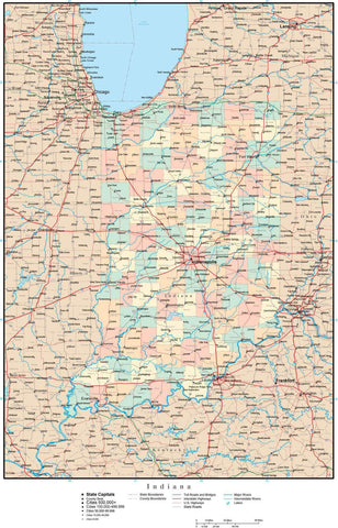 Indiana Map with Counties, Cities, Major Roads, Rivers and Lakes from Map Resources