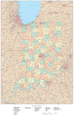 Poster Size High Detail Indiana Map with Counties, Cities, Highways, Railroads, Airports, National Parks and more