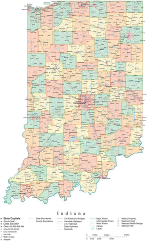 Poster Size Indiana Cut-Out Style Map with Counties, Cities, Highways, National Parks and more