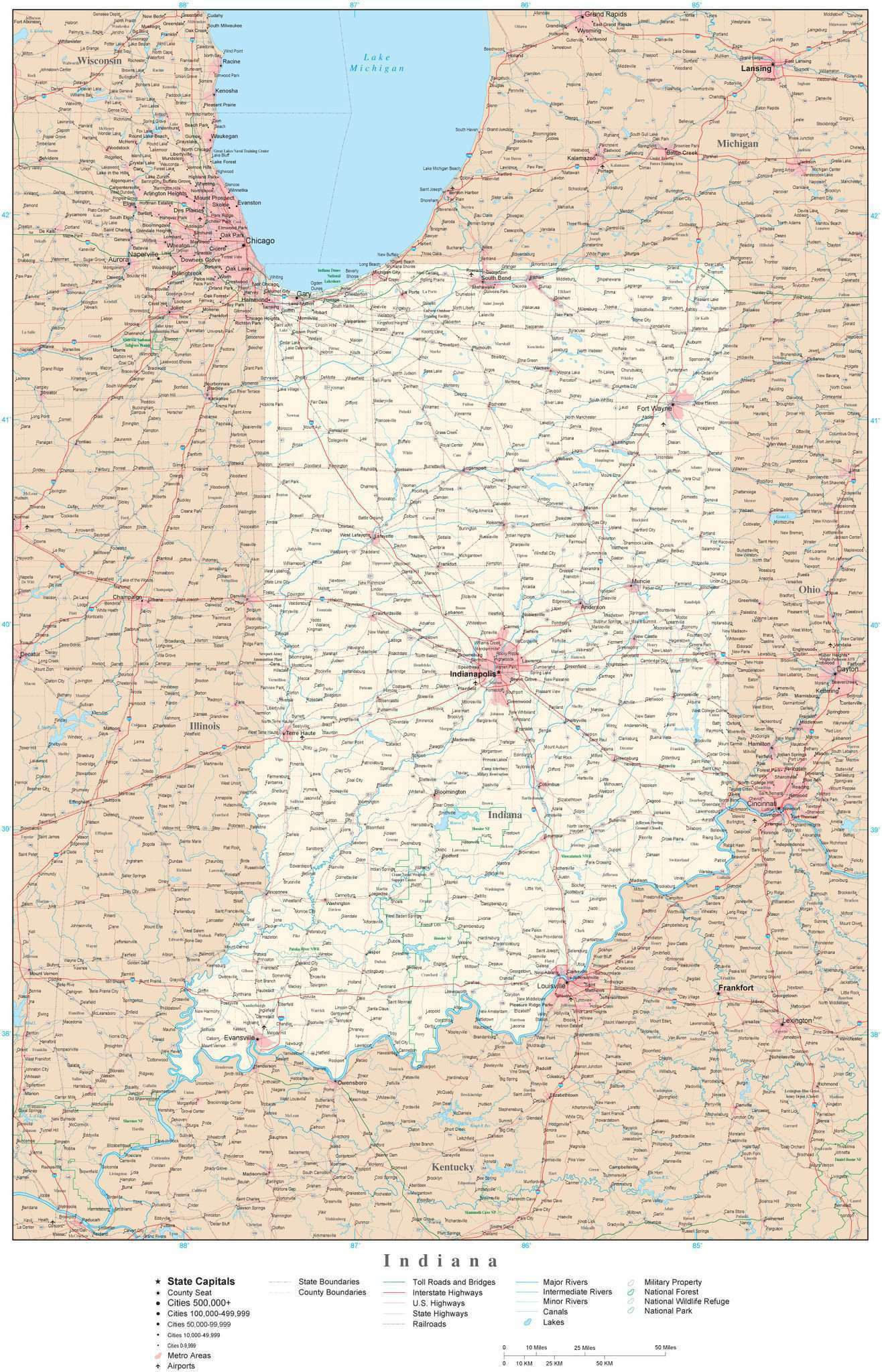 Indiana Map With County Lines Indiana Detailed Map in Adobe Illustrator vector format. Detailed
