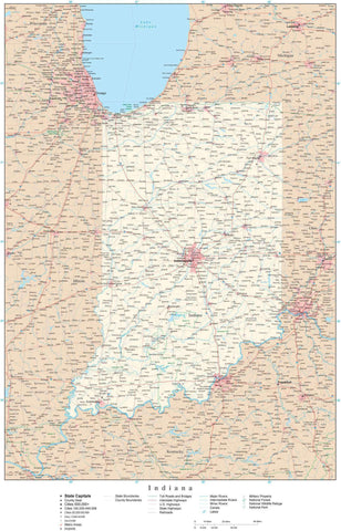 Poster Size Indiana Map with County Boundaries, Cities, Highways, National Parks, and more