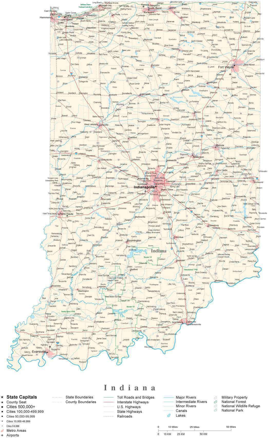 Indiana Map With Counties And Cities Indiana Detailed Cut Out Style State Map in Adobe Illustrator