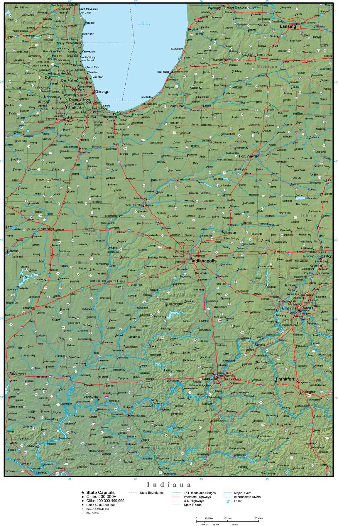 Indiana State Map Plus Terrain With Cities Roads Map Resources