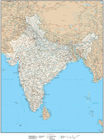 High Detail India Map - 17 inches by 22 inches
