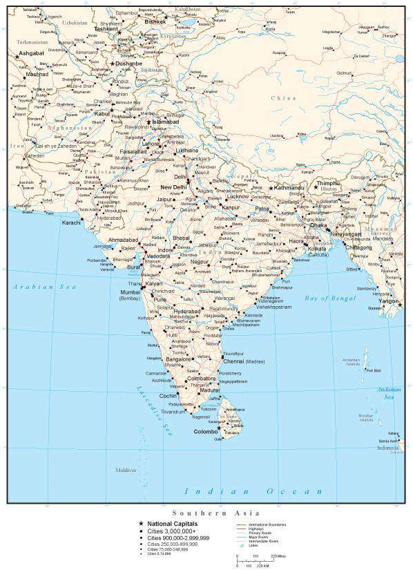 Southern Asia Map with Country Boundaries Capitals Cities Roads and Water  Features