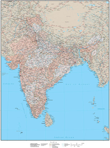 High Detail India Map with States & Union Territories Plus Terrain - 17 inches by 22 inches