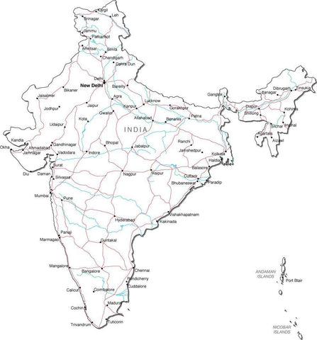 India Black & White Map with Capital, Major Cities, Roads, and Water Features