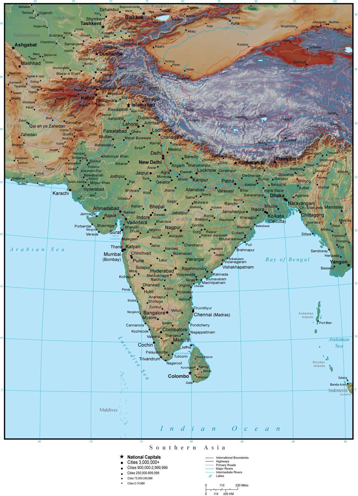 Map Of S Asia.Southern Asia Map Plus Terrain With Countries Capitals Cities Roads And Water Features