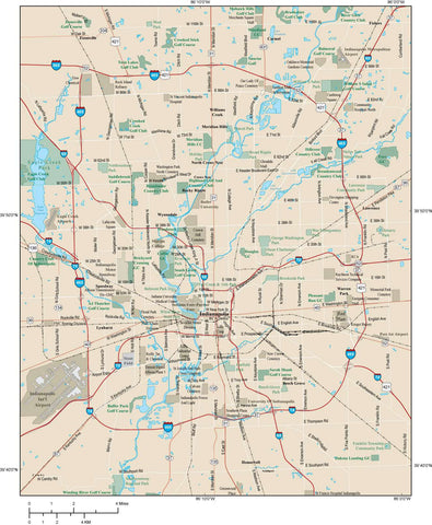 Indianapolis Map Adobe Illustrator vector format IND-XX-984791