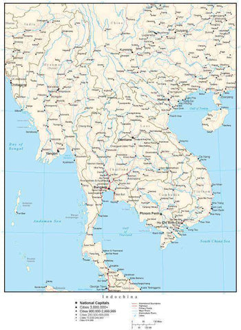 Indochina Map with Country Boundaries, Capitals, Cities, Roads and Water Features