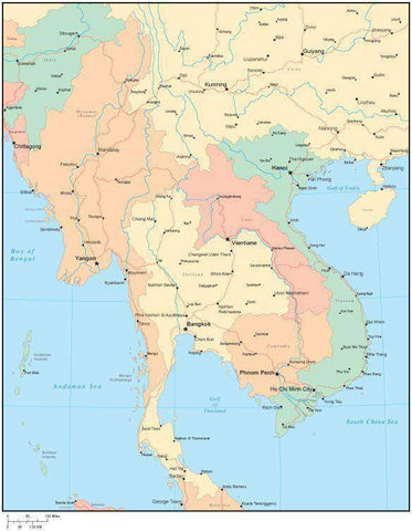 Multi Color Indochina Map with Countries, Capitals, Major Cities and Water Features