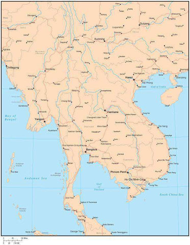 Single Color Indochina Map with Countries, Capitals, Major Cities and Water Features