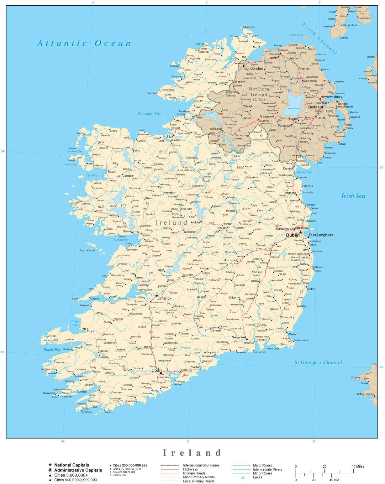 Cities In Ireland Map.Ireland Map In Adobe Illustrator Vector Format Map Resources