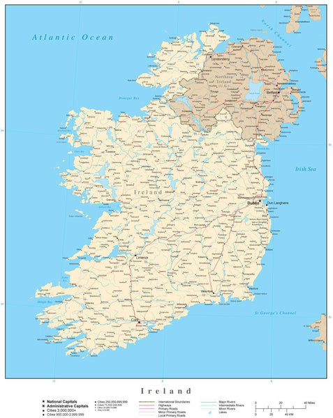 High Quality Map Of Ireland.Ireland Map High Detail
