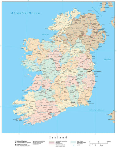 High Detail Ireland Map with Counties
