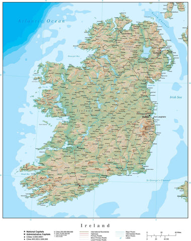 Digital Poster Size Ireland Terrain map in Adobe Illustrator vector format with Terrain IRL-XX-395352