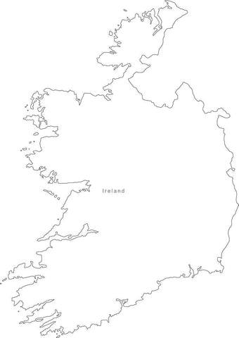 Digital Black & White Ireland map in Adobe Illustrator EPS vector format