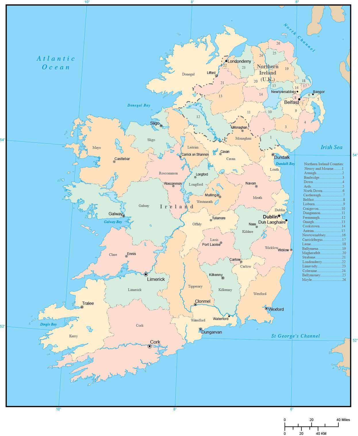 Map Of Counties Of Northern Ireland.Ireland Map With County Areas And Capitals In Adobe Illustrator
