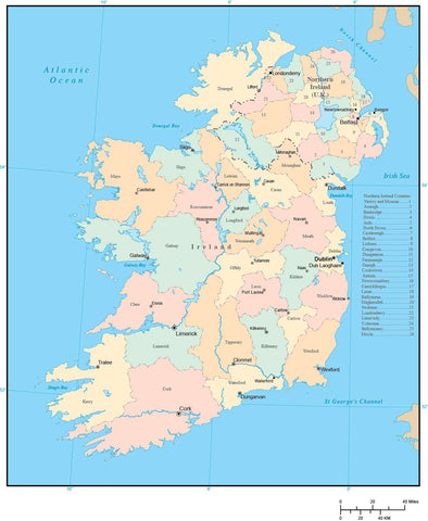 Ireland Digital Vector Map with County Areas and Capitals
