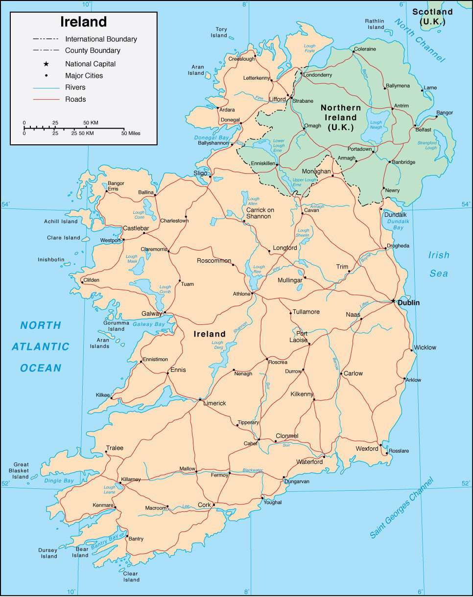 Map Of Ireland With Rivers.Ireland Page Size Digital Map