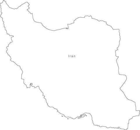 Digital Black & White Iran map in Adobe Illustrator EPS vector format