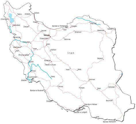 Iran Black & White Map with Capital, Major Cities, Roads, and Water Features