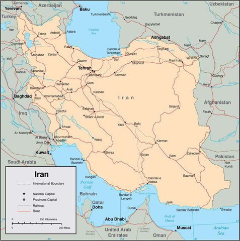 Digital Iran map in Adobe Illustrator vector format