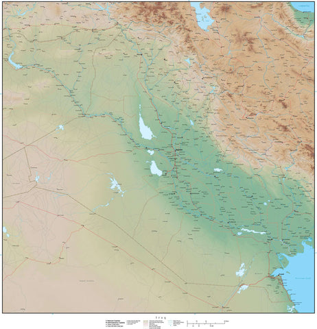High Detail Iraq Map Plus Terrain - 25 inches by 25 inches