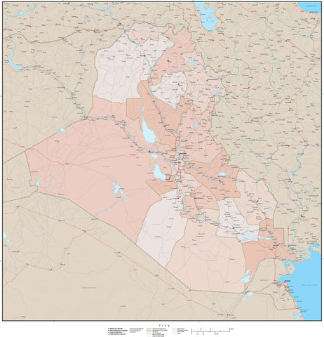 High Detail Iraq Map with Governorates Plus Terrain - 25 inches by 25 inches
