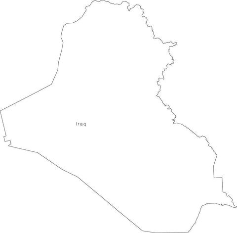 Digital Black & White Iraq map in Adobe Illustrator EPS vector format