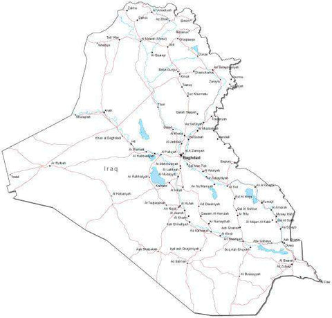 Iraq Black & White Map with Capital, Major Cities, Roads, and Water Features