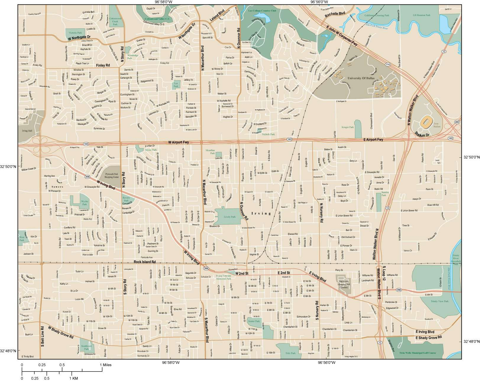 Irving Map With Local Streets In Adobe Illustrator Vector Format