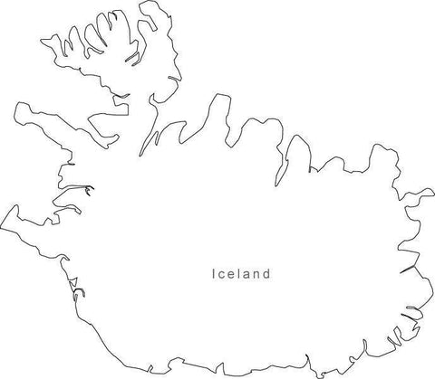 Digital Black & White Iceland map in Adobe Illustrator EPS vector format