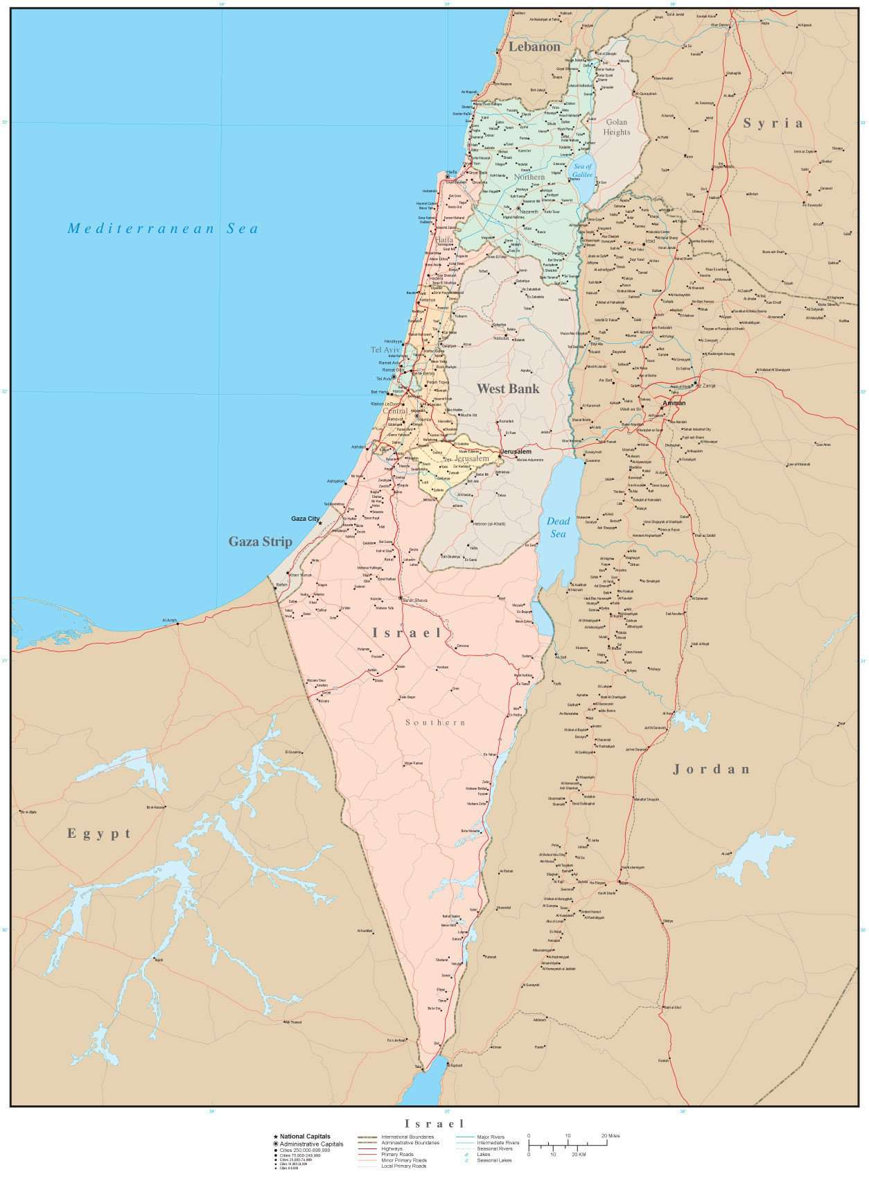 Israel Size: Poster Size Israel With Internal Administrative Divisions
