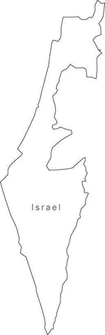 Digital Black & White Israel map in Adobe Illustrator EPS vector format